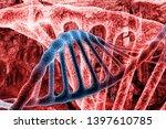 double helix dna molecules on... | Shutterstock . vector #1397610785