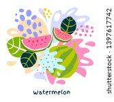 fresh watermelon berry berries...   Shutterstock .eps vector #1397617742