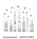 spacecraft collection in flat... | Shutterstock .eps vector #1397617892