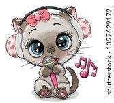 cartoon cat with headphones and ... | Shutterstock .eps vector #1397629172