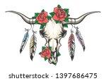 bull skull with rose flowers on ... | Shutterstock .eps vector #1397686475