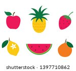 colorful isolated fruits ... | Shutterstock .eps vector #1397710862