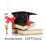 grad hat with diploma and books ... | Shutterstock . vector #139771612