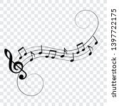 music notes with swirls ... | Shutterstock .eps vector #1397722175