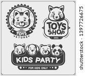 set of cute soft plush animal... | Shutterstock .eps vector #1397726675