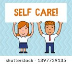 writing note showing self care. ... | Shutterstock . vector #1397729135