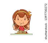 girl eating pasta  vegetable... | Shutterstock .eps vector #1397730272