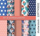 set of trendy seamless floral... | Shutterstock .eps vector #1397745032
