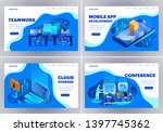 set of landing page design... | Shutterstock .eps vector #1397745362