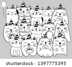 set of funny stylized cats.... | Shutterstock .eps vector #1397775395