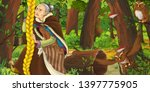 cartoon scene with happy old... | Shutterstock . vector #1397775905