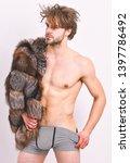 sexy sleepy macho tousled hair... | Shutterstock . vector #1397786492