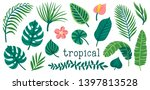set of cute summer palm leaves... | Shutterstock .eps vector #1397813528