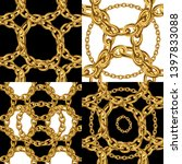 patterns set with gold chains... | Shutterstock .eps vector #1397833088