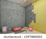 walls tile instalation 3d... | Shutterstock . vector #1397880002