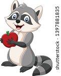 cartoon raccoon holding a red... | Shutterstock .eps vector #1397881835
