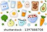 set of kawaii stickers or...
