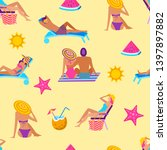 summer time vacation seamless...   Shutterstock . vector #1397897882