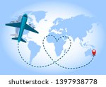 airplane flying with blue... | Shutterstock .eps vector #1397938778