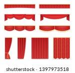 set of red velvet curtains and... | Shutterstock .eps vector #1397973518