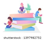 young male and female readers... | Shutterstock .eps vector #1397982752
