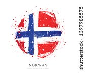 norwegian flag in the form of a ... | Shutterstock .eps vector #1397985575