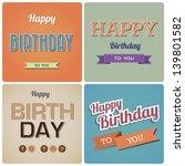 Vintage Happy Birthday Card.Illustration EPS10 - stock vector