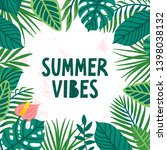 vector summer card with palm... | Shutterstock .eps vector #1398038132