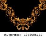 golden elements in baroque ... | Shutterstock . vector #1398056132