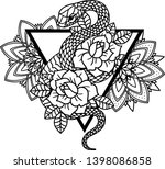 tattoo with rose and snake with ... | Shutterstock .eps vector #1398086858