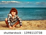 a happy redhead disheveled boy...   Shutterstock . vector #1398113738