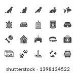 pet shop flat glyph icons set.... | Shutterstock .eps vector #1398134522