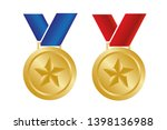 medal with star. vector... | Shutterstock .eps vector #1398136988