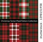collection of christmas tartan... | Shutterstock .eps vector #1398151958