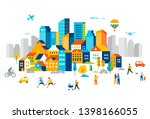 smart city  landscape city... | Shutterstock .eps vector #1398166055