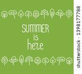 summer is here . doodle hand... | Shutterstock .eps vector #1398177788