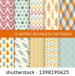 ten retro different seamless...   Shutterstock .eps vector #1398190625