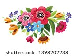 buoquet of vector flowers.... | Shutterstock .eps vector #1398202238
