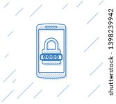 blue mobile phone and password... | Shutterstock .eps vector #1398239942