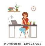 woman working on computer... | Shutterstock .eps vector #1398257318