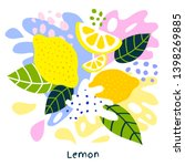 fresh lemon tropical exotic... | Shutterstock .eps vector #1398269885