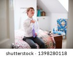 young downs syndrome man... | Shutterstock . vector #1398280118