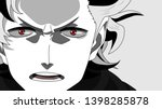 Anime face with red eyes from cartoon. Banner for anime, manga. Vector illustration