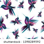 watercolor hummingbird flying... | Shutterstock . vector #1398289592