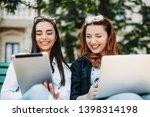 two beautiful young caucasian... | Shutterstock . vector #1398314198