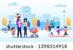vector cartoon people walking... | Shutterstock .eps vector #1398314918
