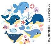 Big Set Of Sea Elements  Whales ...