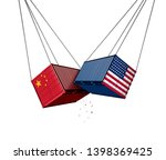 usa and china trade war and... | Shutterstock . vector #1398369425