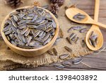 Sunflower Seeds In Wooden Bowl...