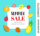 summer sale with tropical fruit ... | Shutterstock .eps vector #1398432752